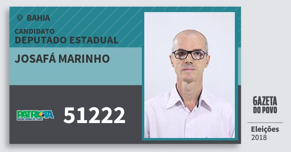 Santinho Josafá Marinho 51222 (PATRI) Deputado Estadual | Bahia | Eleições 2018
