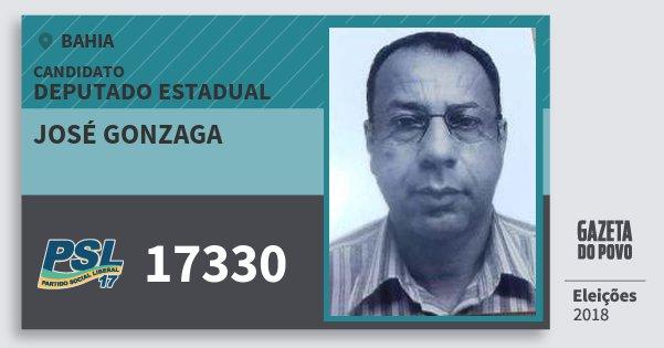 Santinho José Gonzaga 17330 (PSL) Deputado Estadual | Bahia | Eleições 2018