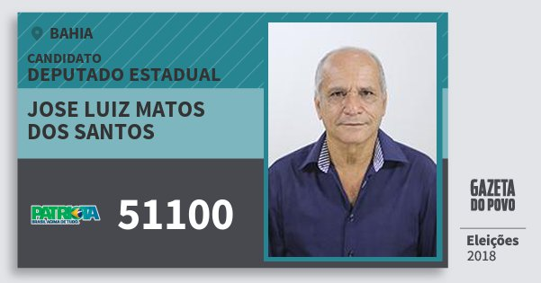 Santinho Jose Luiz Matos dos Santos 51100 (PATRI) Deputado Estadual | Bahia | Eleições 2018