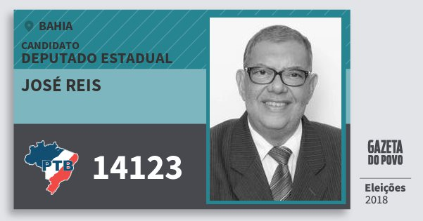 Santinho José Reis 14123 (PTB) Deputado Estadual | Bahia | Eleições 2018