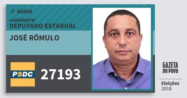 Santinho José Rômulo 27193 (DC) Deputado Estadual | Bahia | Eleições 2018