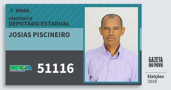 Santinho Josias Piscineiro 51116 (PATRI) Deputado Estadual | Bahia | Eleições 2018