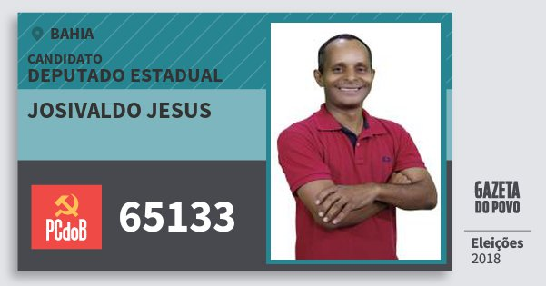 Santinho Josivaldo Jesus 65133 (PC do B) Deputado Estadual | Bahia | Eleições 2018
