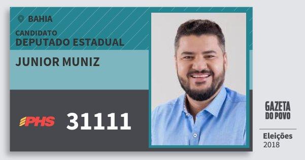 Santinho Junior Muniz 31111 (PHS) Deputado Estadual | Bahia | Eleições 2018