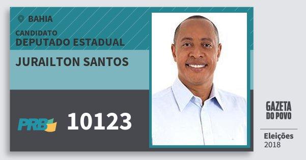 Santinho Jurailton Santos 10123 (PRB) Deputado Estadual | Bahia | Eleições 2018