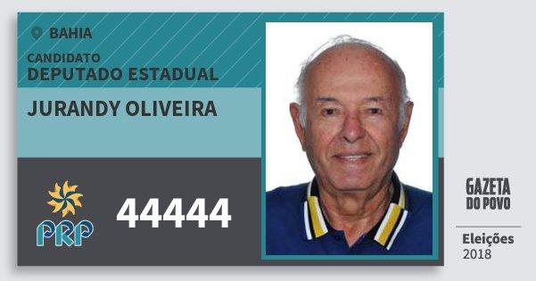 Santinho Jurandy Oliveira 44444 (PRP) Deputado Estadual | Bahia | Eleições 2018