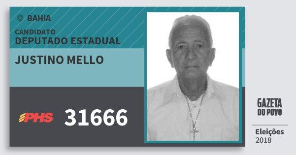 Santinho Justino Mello 31666 (PHS) Deputado Estadual | Bahia | Eleições 2018