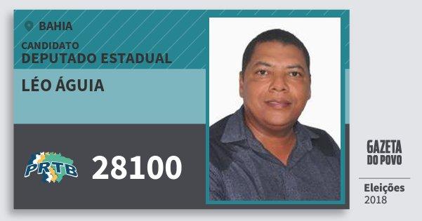 Santinho Léo Águia 28100 (PRTB) Deputado Estadual | Bahia | Eleições 2018