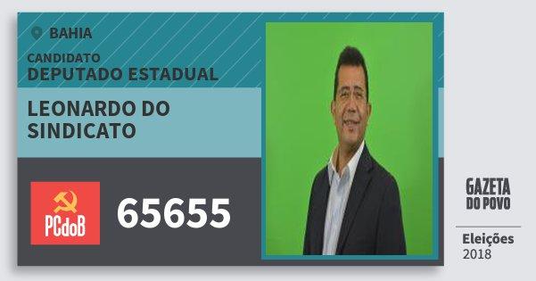 Santinho Leonardo do Sindicato 65655 (PC do B) Deputado Estadual | Bahia | Eleições 2018