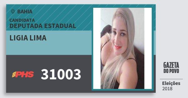 Santinho Ligia Lima 31003 (PHS) Deputada Estadual | Bahia | Eleições 2018