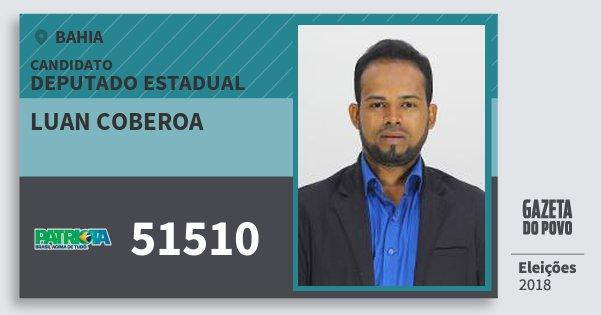 Santinho Luan Coberoa 51510 (PATRI) Deputado Estadual | Bahia | Eleições 2018
