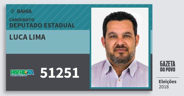 Santinho Luca Lima 51251 (PATRI) Deputado Estadual | Bahia | Eleições 2018