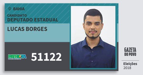Santinho Lucas Borges 51122 (PATRI) Deputado Estadual | Bahia | Eleições 2018