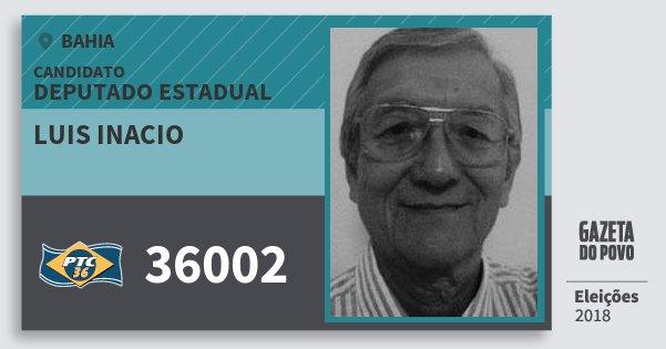 Santinho Luis Inacio 36002 (PTC) Deputado Estadual | Bahia | Eleições 2018