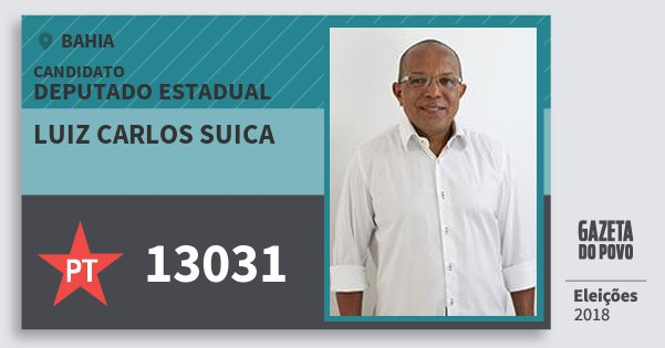 Santinho Luiz Carlos Suica 13031 (PT) Deputado Estadual | Bahia | Eleições 2018