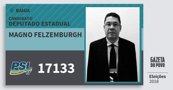 Santinho Magno Felzemburgh 17133 (PSL) Deputado Estadual | Bahia | Eleições 2018