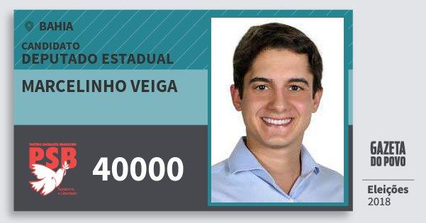 Santinho Marcelinho Veiga 40000 (PSB) Deputado Estadual | Bahia | Eleições 2018