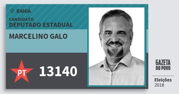 Santinho Marcelino Galo 13140 (PT) Deputado Estadual | Bahia | Eleições 2018