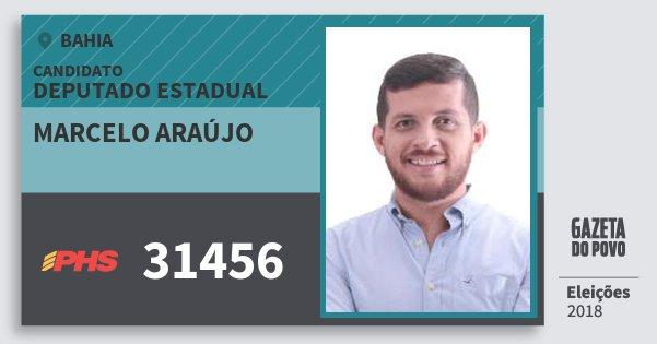 Santinho Marcelo Araújo 31456 (PHS) Deputado Estadual | Bahia | Eleições 2018
