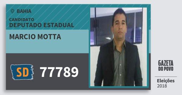 Santinho Marcio Motta 77789 (SOLIDARIEDADE) Deputado Estadual | Bahia | Eleições 2018