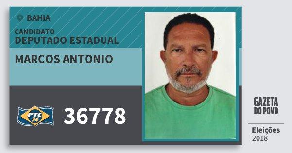 Santinho Marcos Antonio 36778 (PTC) Deputado Estadual | Bahia | Eleições 2018