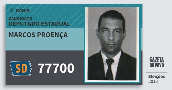 Santinho Marcos Proença 77700 (SOLIDARIEDADE) Deputado Estadual | Bahia | Eleições 2018