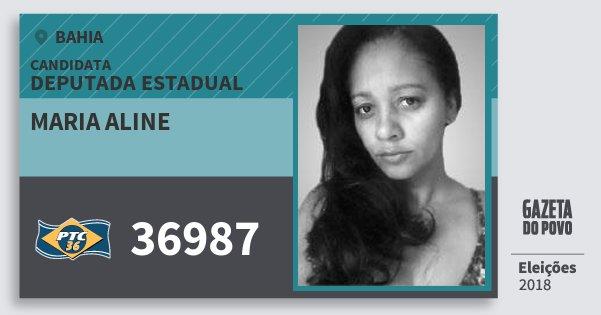 Santinho Maria Aline 36987 (PTC) Deputada Estadual | Bahia | Eleições 2018