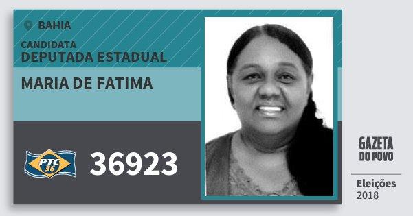Santinho Maria de Fatima 36923 (PTC) Deputada Estadual | Bahia | Eleições 2018