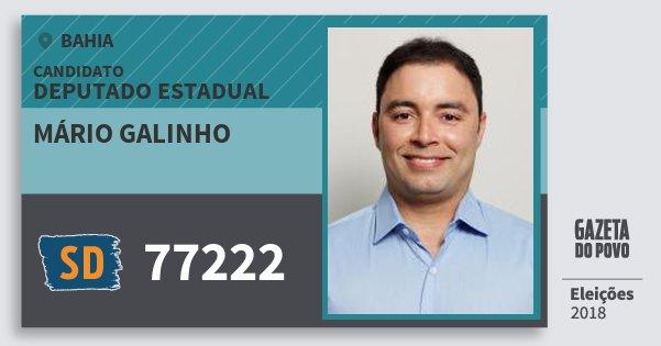 Santinho Mário Galinho 77222 (SOLIDARIEDADE) Deputado Estadual | Bahia | Eleições 2018
