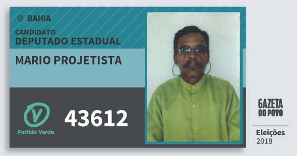 Santinho Mario Projetista 43612 (PV) Deputado Estadual | Bahia | Eleições 2018