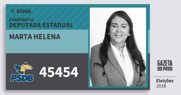 Santinho Marta Helena 45454 (PSDB) Deputada Estadual | Bahia | Eleições 2018