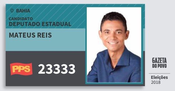 Santinho Mateus Reis 23333 (PPS) Deputado Estadual | Bahia | Eleições 2018