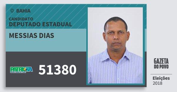 Santinho Messias Dias 51380 (PATRI) Deputado Estadual | Bahia | Eleições 2018