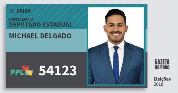 Santinho Michael Delgado 54123 (PPL) Deputado Estadual | Bahia | Eleições 2018