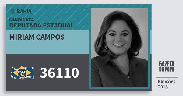 Santinho Miriam Campos 36110 (PTC) Deputada Estadual | Bahia | Eleições 2018