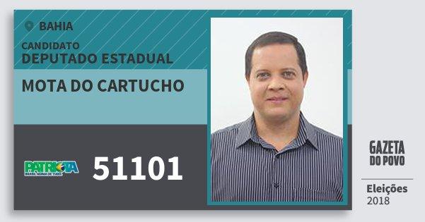 Santinho Mota do Cartucho 51101 (PATRI) Deputado Estadual | Bahia | Eleições 2018