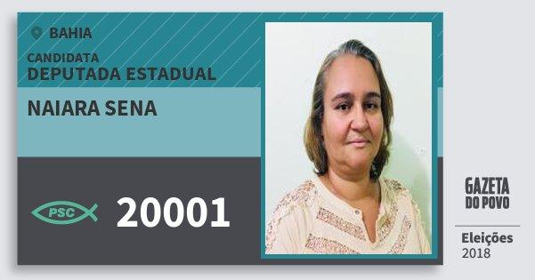Santinho Naiara Sena 20001 (PSC) Deputada Estadual | Bahia | Eleições 2018