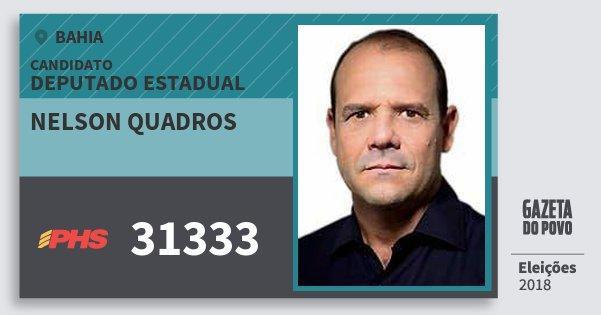 Santinho Nelson Quadros 31333 (PHS) Deputado Estadual | Bahia | Eleições 2018