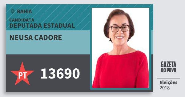 Santinho Neusa Cadore 13690 (PT) Deputada Estadual | Bahia | Eleições 2018