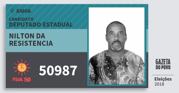 Santinho Nilton da Resistencia 50987 (PSOL) Deputado Estadual | Bahia | Eleições 2018