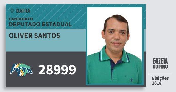 Santinho Oliver Santos 28999 (PRTB) Deputado Estadual | Bahia | Eleições 2018