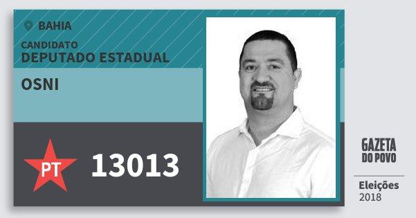 Santinho Osni 13013 (PT) Deputado Estadual | Bahia | Eleições 2018