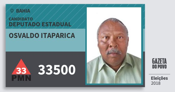 Santinho Osvaldo Itaparica 33500 (PMN) Deputado Estadual | Bahia | Eleições 2018