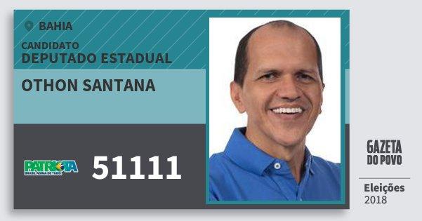Santinho Othon Santana 51111 (PATRI) Deputado Estadual | Bahia | Eleições 2018