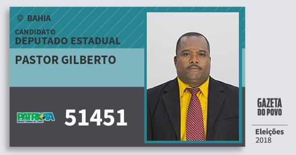 Santinho Pastor Gilberto 51451 (PATRI) Deputado Estadual | Bahia | Eleições 2018