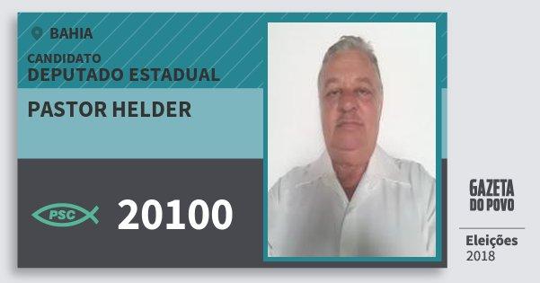 Santinho Pastor Helder 20100 (PSC) Deputado Estadual | Bahia | Eleições 2018