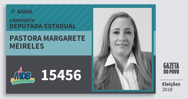 Santinho Pastora Margarete Meireles 15456 (MDB) Deputada Estadual | Bahia | Eleições 2018