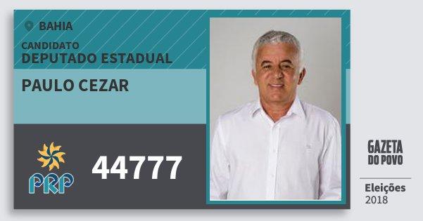 Santinho Paulo Cezar 44777 (PRP) Deputado Estadual | Bahia | Eleições 2018