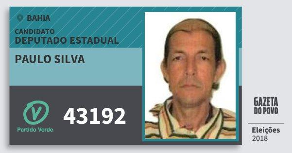 Santinho Paulo Silva 43192 (PV) Deputado Estadual | Bahia | Eleições 2018