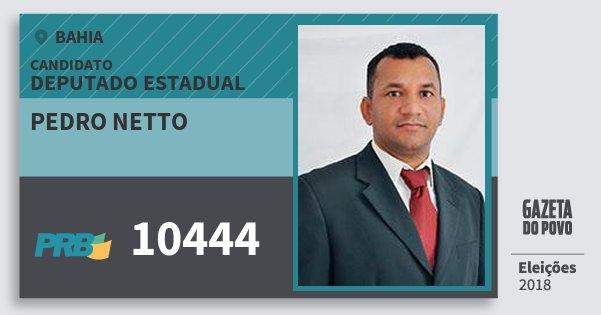 Santinho Pedro Netto 10444 (PRB) Deputado Estadual | Bahia | Eleições 2018